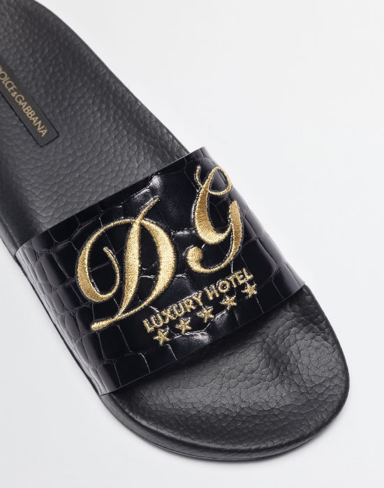 Dolce and Gabbana Rubber Slippers with Embroidery
