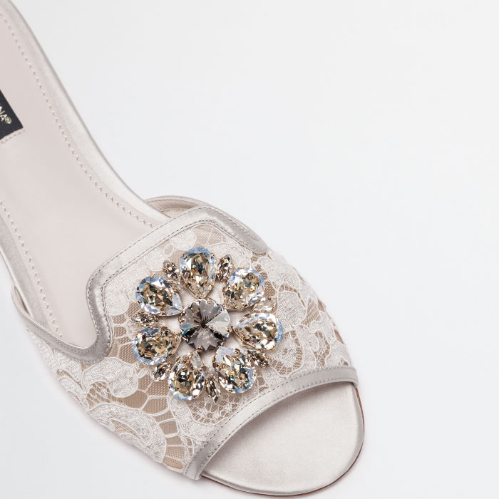 Dolce and Gabbana Slippers in Lace with Crystals white