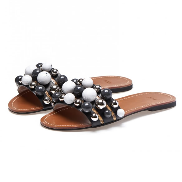 #21 Embellished Leather Slippers
