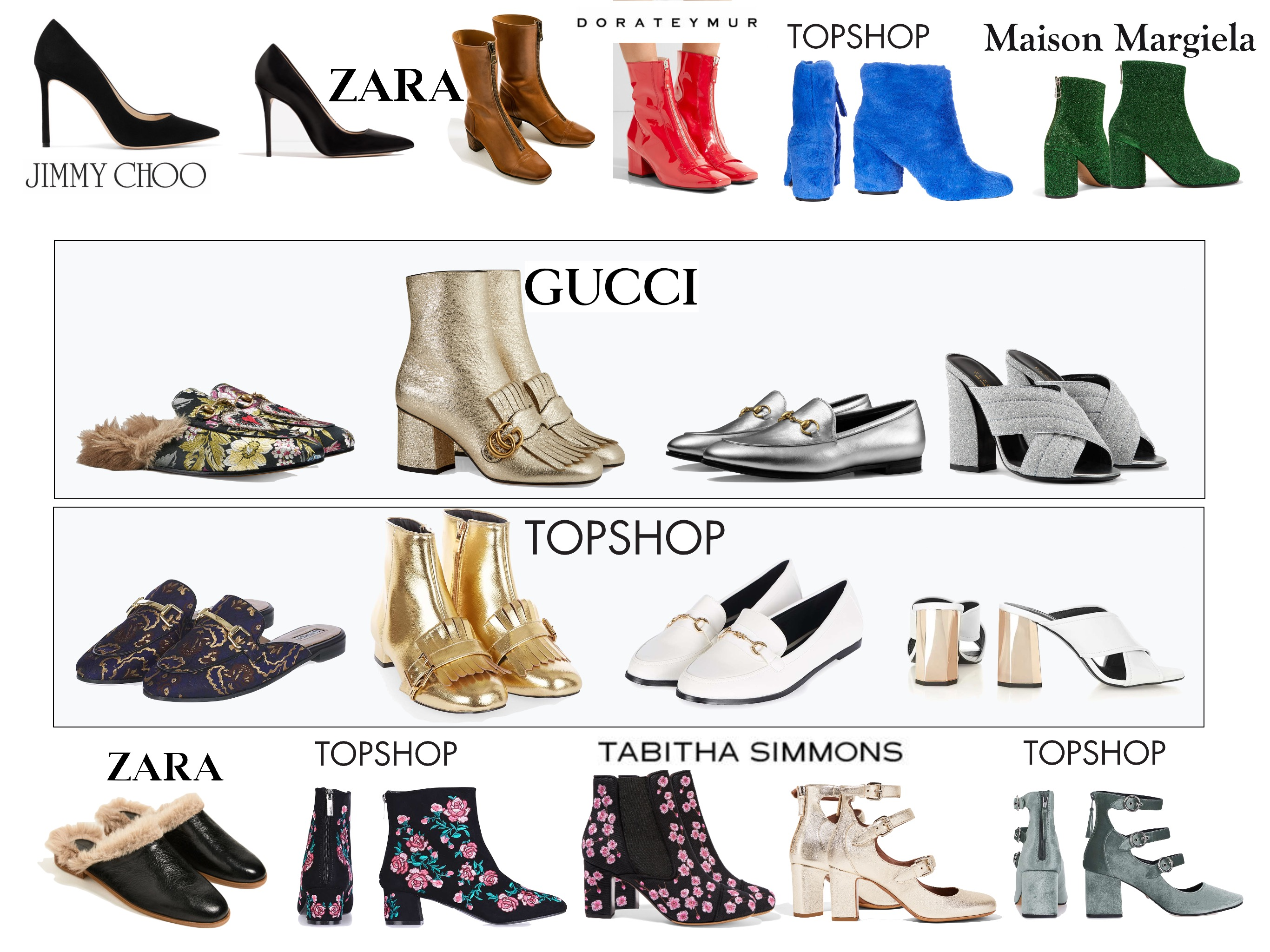 Affordable fall-winter 2016-2017 shoes inspired by Gucci, Maison Margiela, Tabitha Simmons, Jimmy Choo, Dorateymur