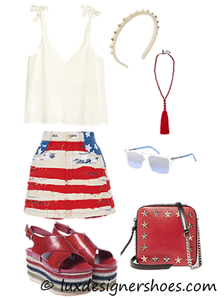 4th of July 2016 outfit: Top by H&M, Skirt by MARC JACOBS, Headband by VALENTINO, Necklace by OSCAR DE LA RENTA, Sunglasses by MARC JACOBS, Bag by JIMMY CHOO, Shoes by BALDININI MAXI WEDGES IN RED CALFSKIN