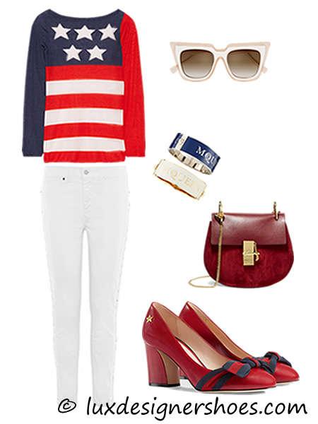 4th of July 2016 outfit: Sweater by MARC JACOBS, Trousers by KAREN MILLEN, Sunglasses by SELF-PORTRAIT, Bracelets by McQ ALEXANDER MCQUEEN, Bag by CHLOE, Shoes by GUCCI LEATHER PUMP IN HIBISCUS RED LEATHER