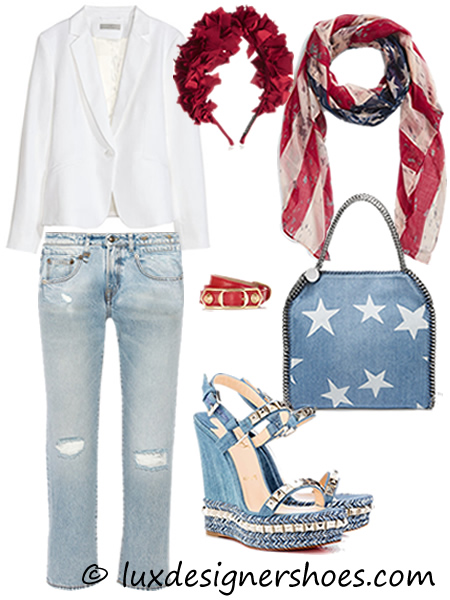 4th of July 2016 outfit: Jacket by H&M, Jeans by R13, Headband by YUNOTME, Scarf by BP., Bracelet by BALENCIAGA, Bag by STELLA MCCARTNEY, Shoes by CHRISTIAN LOUBOTIN CATACLOU 140 mm