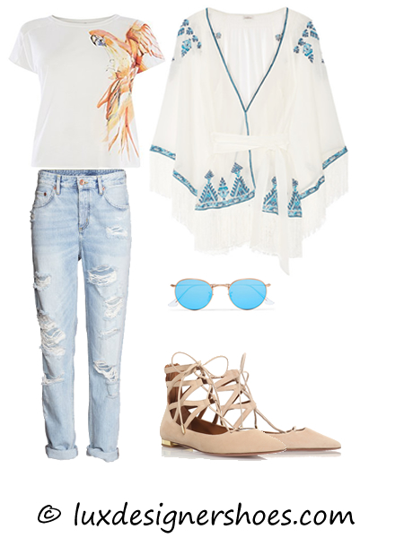 Spring-summer 2016 outfit: T-shirt by KAREN MILLEN, Jeans by H&M, Wrap by TALITHA, Sunglasses by RAY-BAN, Shoes by AQUAZZURA