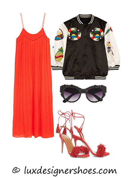 Spring-summer 2016 outfit: Dress by MAJE, Bomber by ANNA SUI, Sunglasses by DOLCE&GABBANA, Shoes by AQUAZZURA