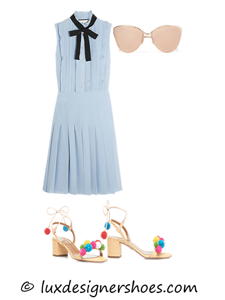 Spring-summer 2016 outfit: Dress by GUCCI, Sunglasses by CUTLER AND GROSS, Shoes by AQUAZZURA