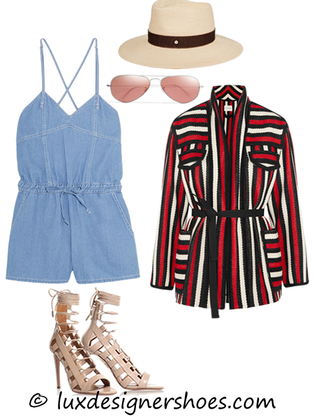 Spring-summer 2016 outfit: Playsuit by STEVE J & YONI P, Hat by MAISON MICHEL, Sunglasses by RAY-BAN, Jacket by ETOILE ISABEL MARANT, Shoes by AQUAZZURA