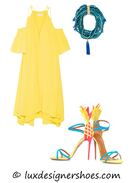 Spring-summer 2016 outfit: Dress by APIECE APART, Necklace by ROSANTICA, Shoes by AQUAZZURA