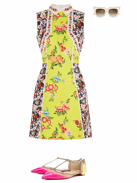 Spring-summer 2016 outfit: Dress by MARY KATRANTZOU, Sunglasses by SELF-PORTRAIT, Shoes by CHRISTIAN LOUBOUTIN