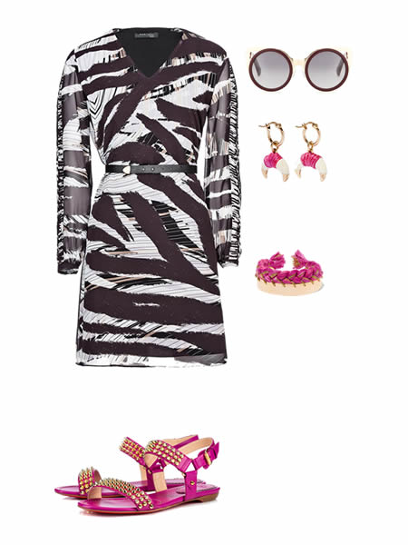 Spring-summer 2016 outfit: Dress by GUESS, Sunglasses by ERDEM, Earrings by AURELIE, Bracelet by AURELIE, Shoes by CHRISTIAN LOUBOUTIN