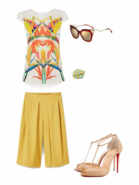 Spring-summer 2016 outfit: T-Shirt by KAREN MILLEN, Sunglasses by MANGO, Ring by FENDI, Culottes by FRED LEIGHTON, Shoes by CHRISTIAN LOUBOUTIN