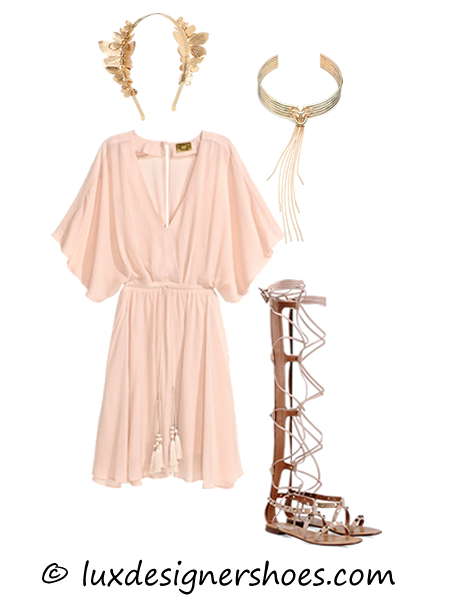 Spring-summer 2016 outfit: Headband by EUGENIA KIM, Dress by H&M, Necklace by EDDIE BORGO, Valentino shoes ROCKSTUD GLADIATOR SANDAL