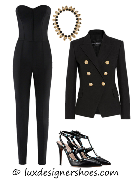 Spring-summer 2016 outfit: Jumpsuit by VERONICA BEARD, Necklace by GIVENCHY, Jacket by BALMAIN, Valentino shoes ROCKSTUD ROLLING ANKLE STRAP