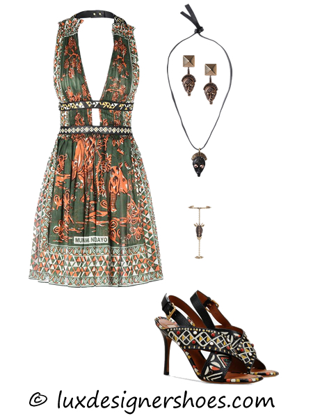 Spring-summer 2016 outfit: Dress by Valentino, Necklace by Valentino, Earrings by Valentino, Bracelet by Valentino, Valentino shoes HAND PAINTED SANDAL