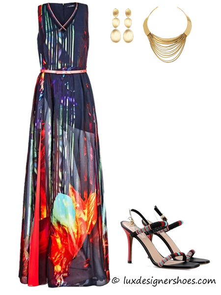 Spring-summer 2016 outfit: Dress by GUESS, Earrings by MARCO BICEGO, Necklace by DIANE VON FURSTENBERG, Valentino shoes SANDAL WITH BEADS EMBROIDERY