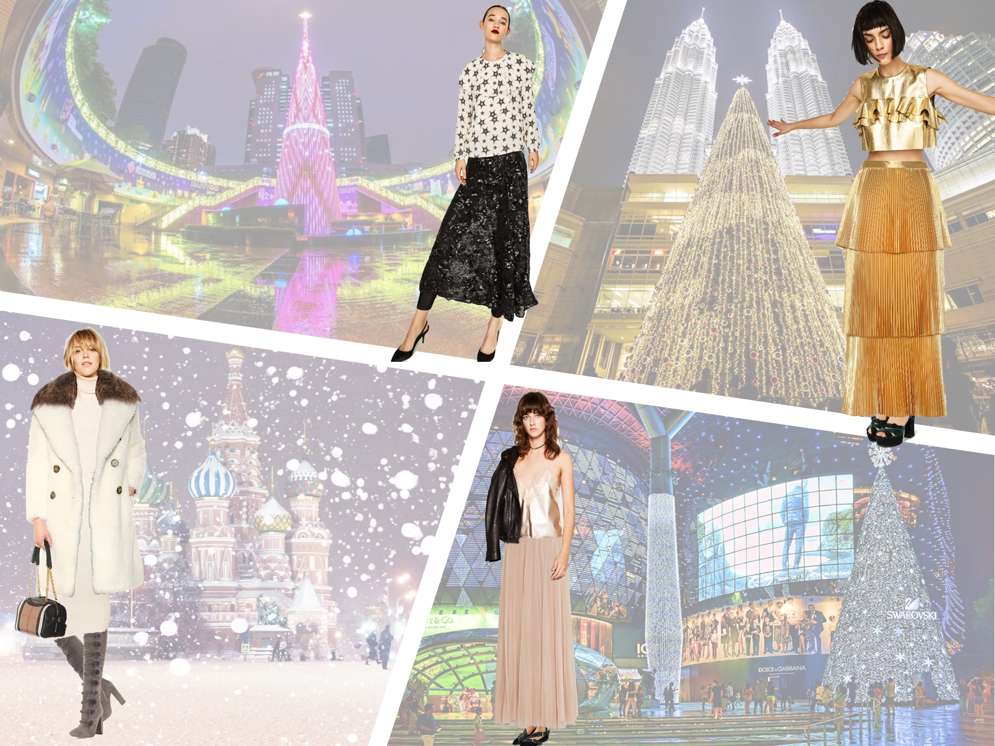 Maxi and midi skirts on Christmas around the world