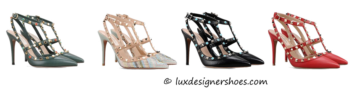 "Valentino ""Ankle Strap Rockstud"", ""Ankle Strap Rockstud Native Couture with Swarovski applications"""